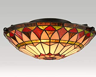 """Sponsored Ad - EUL Vintage Tiffany Style Mission Semi Flush Mount Ceiling Light 15.7"""" Antique Art Colorful Glass Shade 3 L..."""