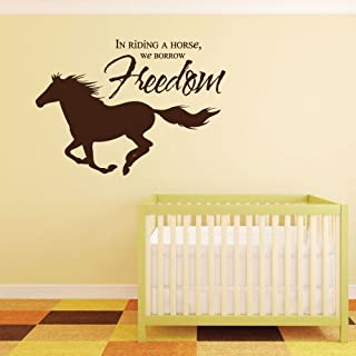 """Horse Wall Decals""""In Riding A Horse, We Borrow Freedom"""" With Horse Image Vinyl Home Wall Decor"""