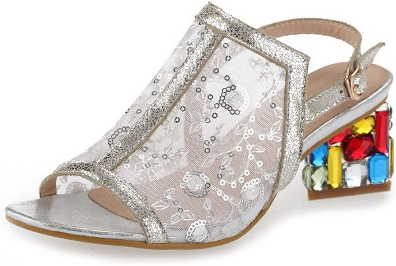 WeenFashion Women's Solid Cow Leather Kitten-Heels Open Toe Buckle Sandals