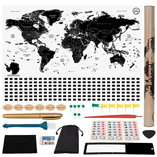 Simar Best Trading Scratch Off World Map - Original Travel Poster Print - Black and White World Map with Hidden Iconic Landmarks of The World - Deluxe Tube Design/All Accessories Included