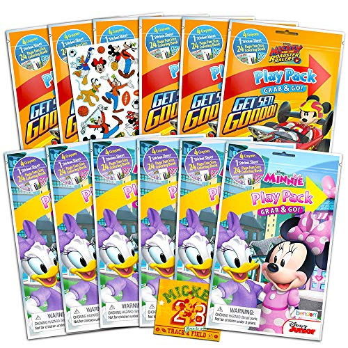 Disney Mickey and Minnie Mouse Party Favor Packs ~ Bundle of 12 Play Packs Filled with Coloring Books and Stickers Featuring Mickey Mouse and Minnie Mouse with Bonus Stickers