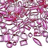 500 Piezas de Gemas de Costura Cristal Acrílico de Costura Diamante de Imitación de Formas Mixtas de Costura con 2 Agujeros para Costura Ropa Adornos de Abalorios (Rosa)