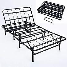 Bed Frame,Metal Folding Platform Bed Frame - can be manually Lifted and Adjusted backrest Iron Bed Bed Base Foldable Black...