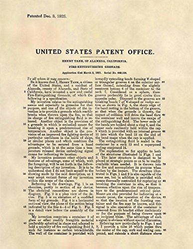 Patent Prints - Fire Extinguisher Grenade - Fireman Wall Art - Patent Art Poster (8.5 x 11) - 407