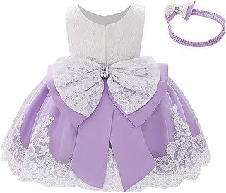 IBTOM CASTLE Dziewczęca sukienka księżniczki, haftowana sukienka koronkowa, bez rękawów, kokardka tutu, tiulowa sukienka n...