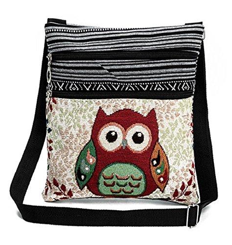Flache Umhängetasche Schultertasche Stofftasche Tragetasche Messenger Bag für Damen Bestickter Ethno Style mit niedlichem Eulenmotiv 2 Innenfächer (Rote Eule)
