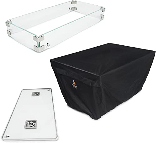 discount Outland Fire Table 3 Piece Rectangle Accessory Set - Tempered discount Glass Lid Insert, Tempered Glass Wind Guard outlet online sale Fence and Water Resistant Durable Cover for Series 401/403 Outdoor Propane Fire Pit Tables outlet sale