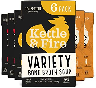 Whole 30 Approved Bone Broth 2 Beef, 2 Chicken, and 2 Mushroom Chicken Variety Pack by Kettle and Fire, Keto Diet, Paleo F...