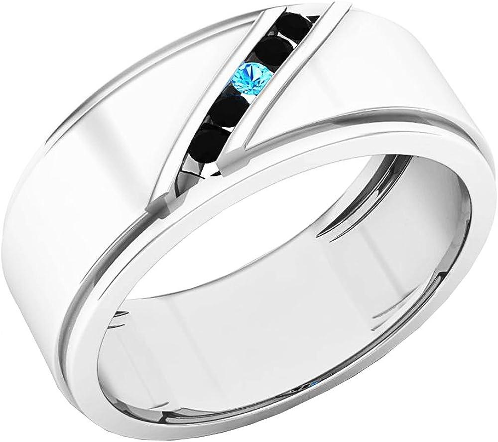 Dazzlingrock Collection 14K Gold Round Cut Blue Topaz & Black Diamond Men's Fashion 5 Stone Wedding Band