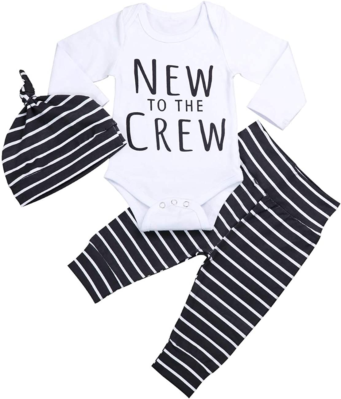 Newborn Baby Boy Clothes New to The Crew Romper Long Sleeve Striped Pants and Cute Hat Outfit Set 3PCS 0-3 Months Gray