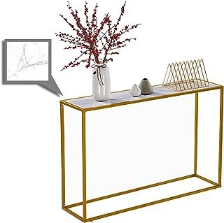 Table Console, Table d'entrée Effet Marbre Blanc 106x28x76cm pour Chambre Salon Entrée