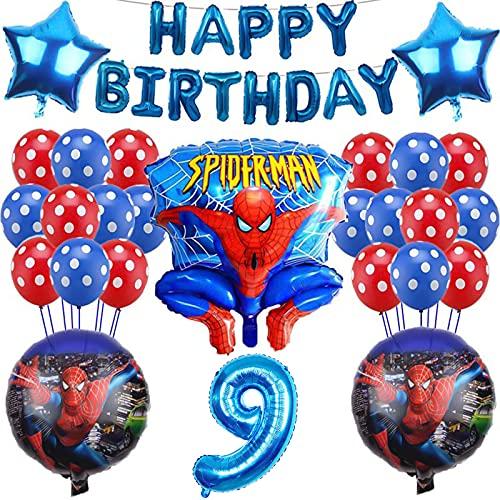 Yisscen 9 Años Juego de Decoraciones de Cumpleaños Superhéroes con Globos, Pancarta de Cumpleaños con Globos, Suministros de Fiesta, para 9 Años Decoración de la Fiesta de Cumpleaños del Niña Chico