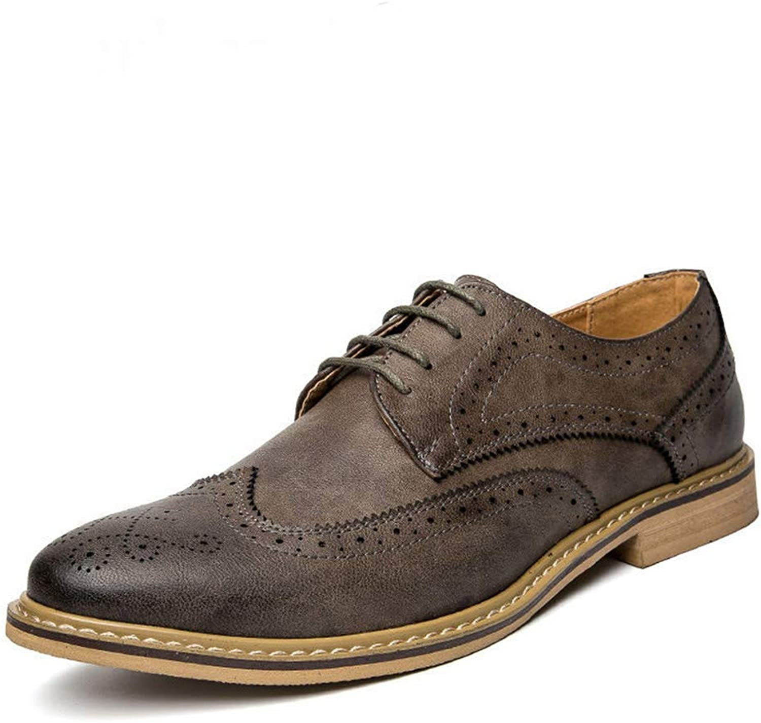 Men Oxfords Dress shoes Leather Brogue Mens Flats shoes Casual British Style for Men