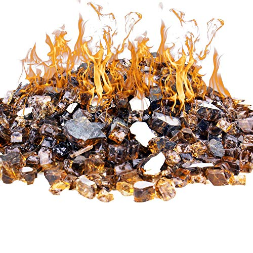 CYS EXCEL Amber Reflective Fire Pit Glass (Pack of 20 LBS, Approx. 2 SQ. FT.) | Multiple Color Choices Fireplace Tempered Glass Rock Crystals | Decorative Landscaping Glass Pebble Stones