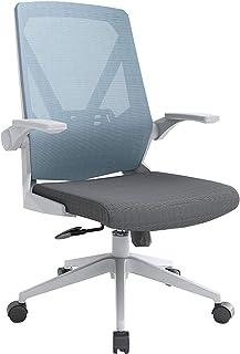 Silla de Escritorio Silla de Oficina Silla ergonómica para computadora de malla giratoria con respaldo medio, silla de escritorio de oficina con apoyabrazos abatible para sala de estudio de oficina
