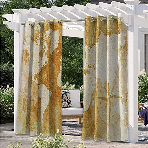 Blackout Curtains Old Fashioned World Map Design with Compass in Retro Distressed Colors Continents Earth Light Filtering Outdoor Curtains Add A Soft Touch to Your Patio Cream Tan W84 x L84 Inch