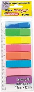 Marcador de Pagina Adesivo MemoNote, Adelbras, 8 Cores Neon, Pacote de 200