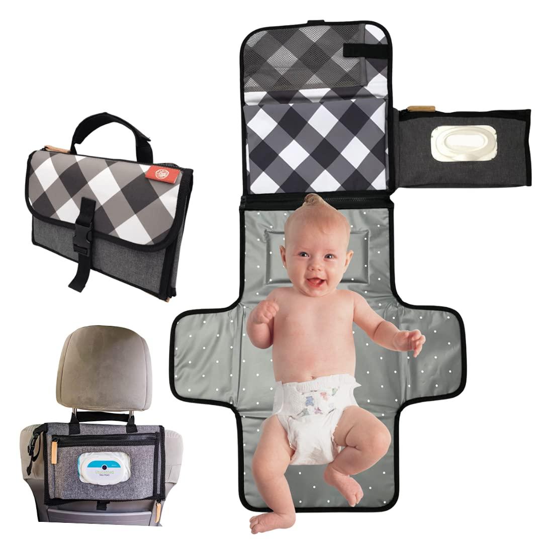 BYG Ideas Portable Diaper Changing Pad, Black Gingham