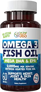 Sponsored Ad - Ultra Strength Omega 3 Burpless Fish Oil (2000 mg) by Feel Great 365, Mega EPA & DHA, Pure Omega 3 6 9 with...