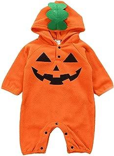 HiFunBay Bambini Baby Boy Girl First Halloween Pumpkin Hoodie Outfit Pagliaccetto Manica Lunga 3PCS con Cappello Carino per la Festa