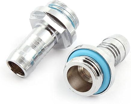 uxcell 冷却水用コネクタ- メタル製シルバートーン G6.35mmスレッド工具 2個入り