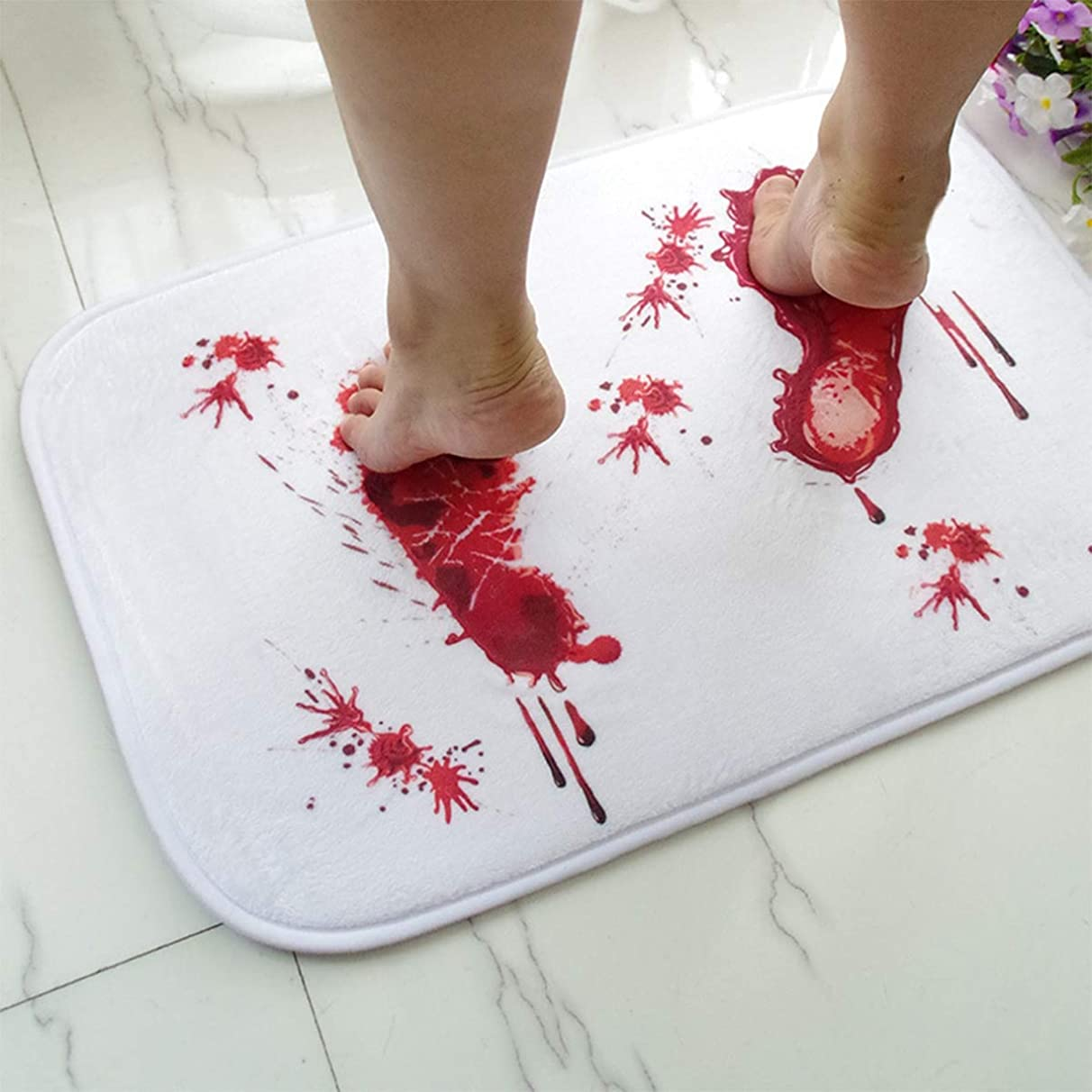 Bath Mats - Footprint Blood Bath Mat Bloody Shower Non Slip Floor Carpet 40x60cm - Friendly Pattern Lavender Turquoise Mold Reglazed Quick Theme Plush Curtain Sets Backing Cloth Ivory Oval Sizes