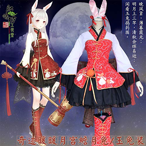 WSJDE Miracle Warm Warm Moon Palace Toad Rabbit Conjunto Completo de Disfraces para Mujer Hanfu Cosplay Dress Moon Rabbit Jade Rabbit
