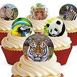 Cakeshop 12 x Vorgeschnittene und Essbare Zoo Tiere Kuchen Topper (Tortenaufleger, Bedruckte Oblaten, Oblatenaufleger) -
