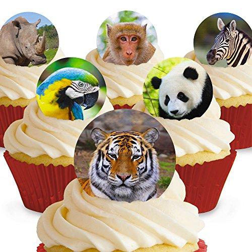 Cakeshop 12 x Vorgeschnittene und Essbare Zoo Tiere Kuchen Topper (Tortenaufleger, Bedruckte Oblaten, Oblatenaufleger)