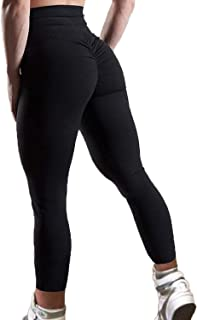 FITTOO Women`s High Waisted Bottom Scrunch Leggings Ruched Yoga Pants Push up Butt Lift Trousers Workout