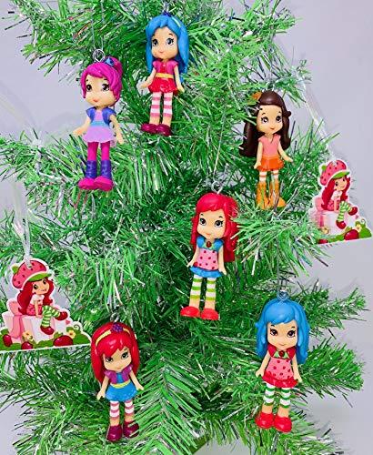 Mini-Weihnachtsbaum-Set mit Erdbeer-Motiv, zufällige Figuren, 7,6 cm hoch