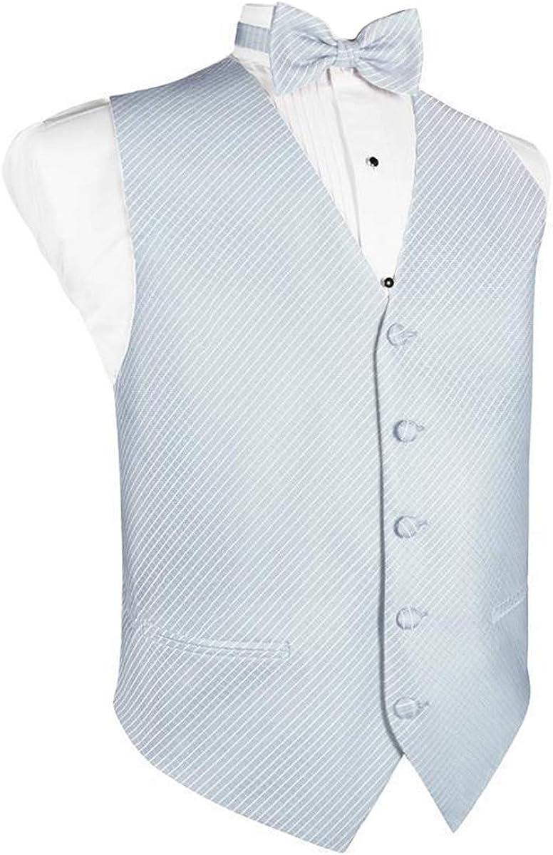 Men's Powder Blue Grid Pattern Tuxedo Vest and Bow Tie