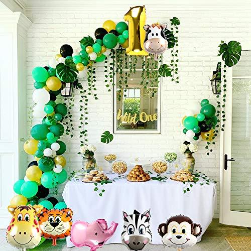 vamei 149PCS Selva Fiesta de cumplea/ños Decoracion Ni/ño-Feliz cumplea/ños Feliz con Hojas de Palma Globos de Latex y Safari Bosque Animal Globos para Ni/ño Cumplea/ños Baby Shower Decoraci/ón