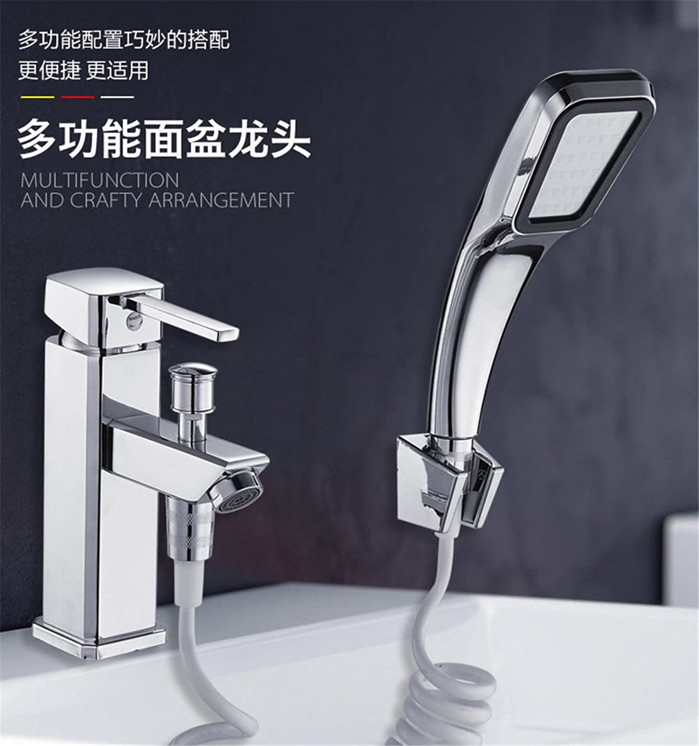 Lalaky Taps Faucet Kitchen Mixer Sink Waterfall Bathroom Mixer Basin Mixer Tap for Kitchen Bathroom and Washroom Full Copper Single Hole with Shower Hot and Cold Water