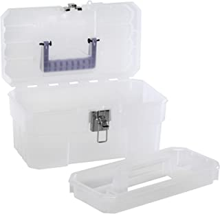 Akro-Mils 09514CFT 14-Inch Plastic Art Supply Craft Storage Tool Box, Semi-Clear