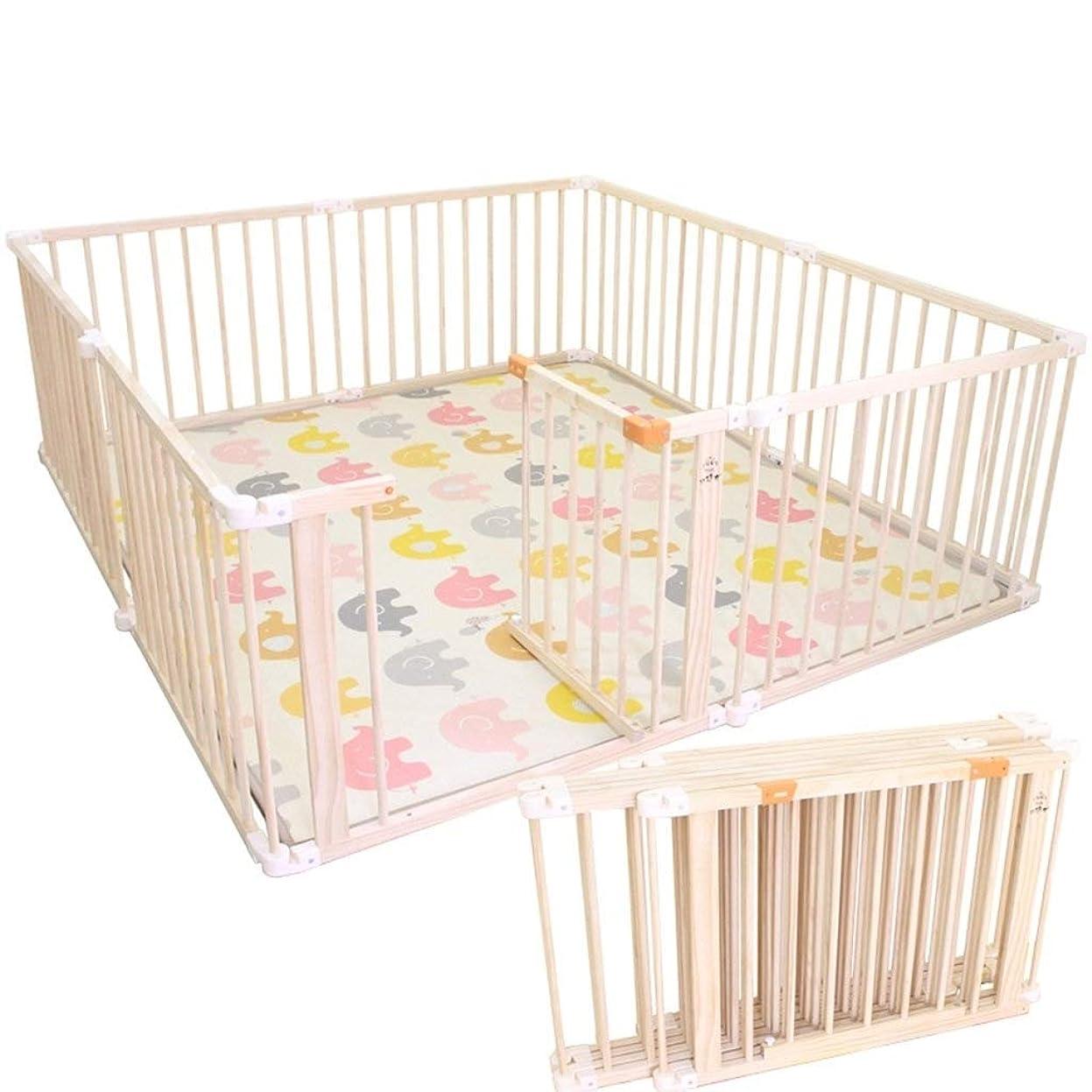 群れ起きろバンクPNFP ゲート付きの大きな木製の子供の安全ベビーサークル-幼児屋外エリアの家、高さ66CMのアクティビティエリアフェンス (Size : 160×200×66cm)