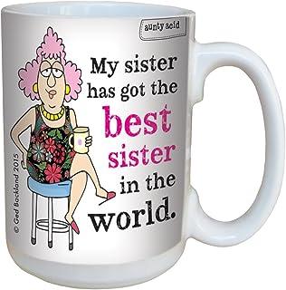 Tree-Free Greetings 15-Ounce (443ml) Ceramic Mug with Full-Sized Handle, Aunty Acid Best Sister, Multi-Colour, 8.13 x 12.7...
