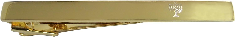 Kiola Designs Gold Toned Sleek Etched Menorah Square Tie Clip