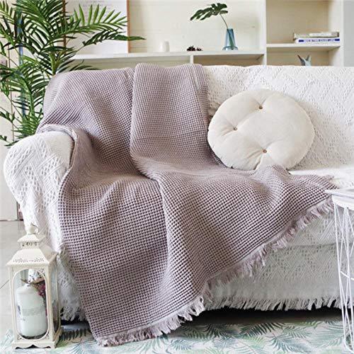 Algodón Sólido Cubiertas de gofres Toalla Cobertor BorlaCubierta de Polvo Mantas de Aire Acondicionado para la Cama Manta Multifuncional Sofá, K