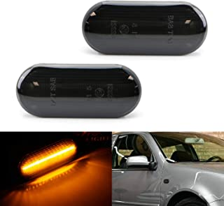 iJDMTOY Smoked Lens Amber Full LED Front Side Marker Light Kit For Volkswagen MK4 Jetta GTI R32 Beetle etc, Powered by 15-SMD LED, Replace OEM Sidemarker Lamps