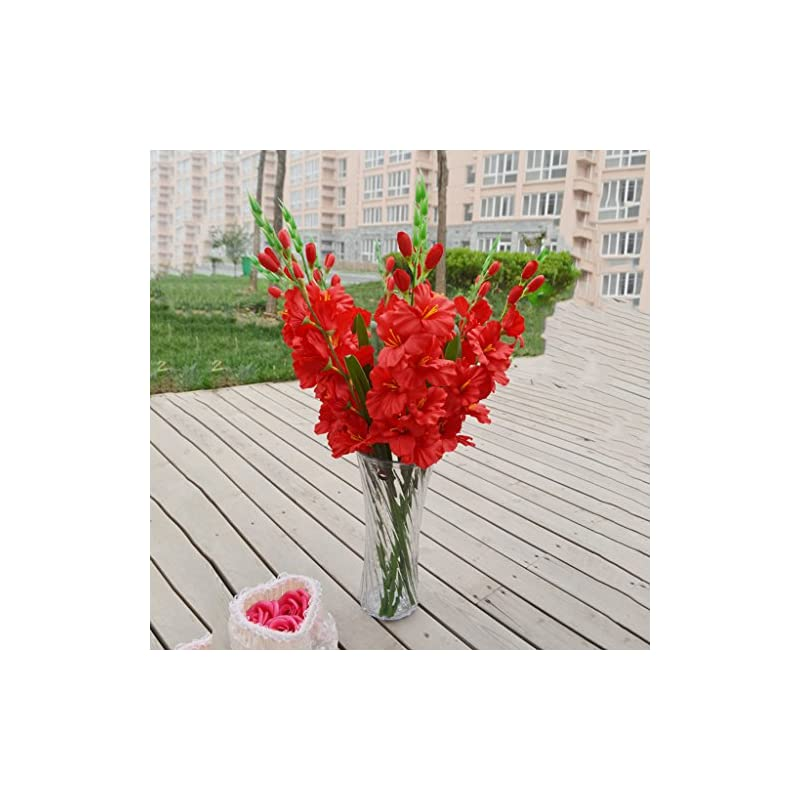 silk flower arrangements joymerit artificial gladioli spray stem fake silk tropical flowers gladiolus decor - pick - red, 80cm