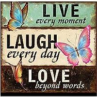 ZCZN ダイアモンドペインティングキット 大人と子供用 DIY 5D フルドリル ラインストーンキット ペイント番号付き ホームウォールデコ Live Laugh Love (キャンバス 12 X 12インチ)