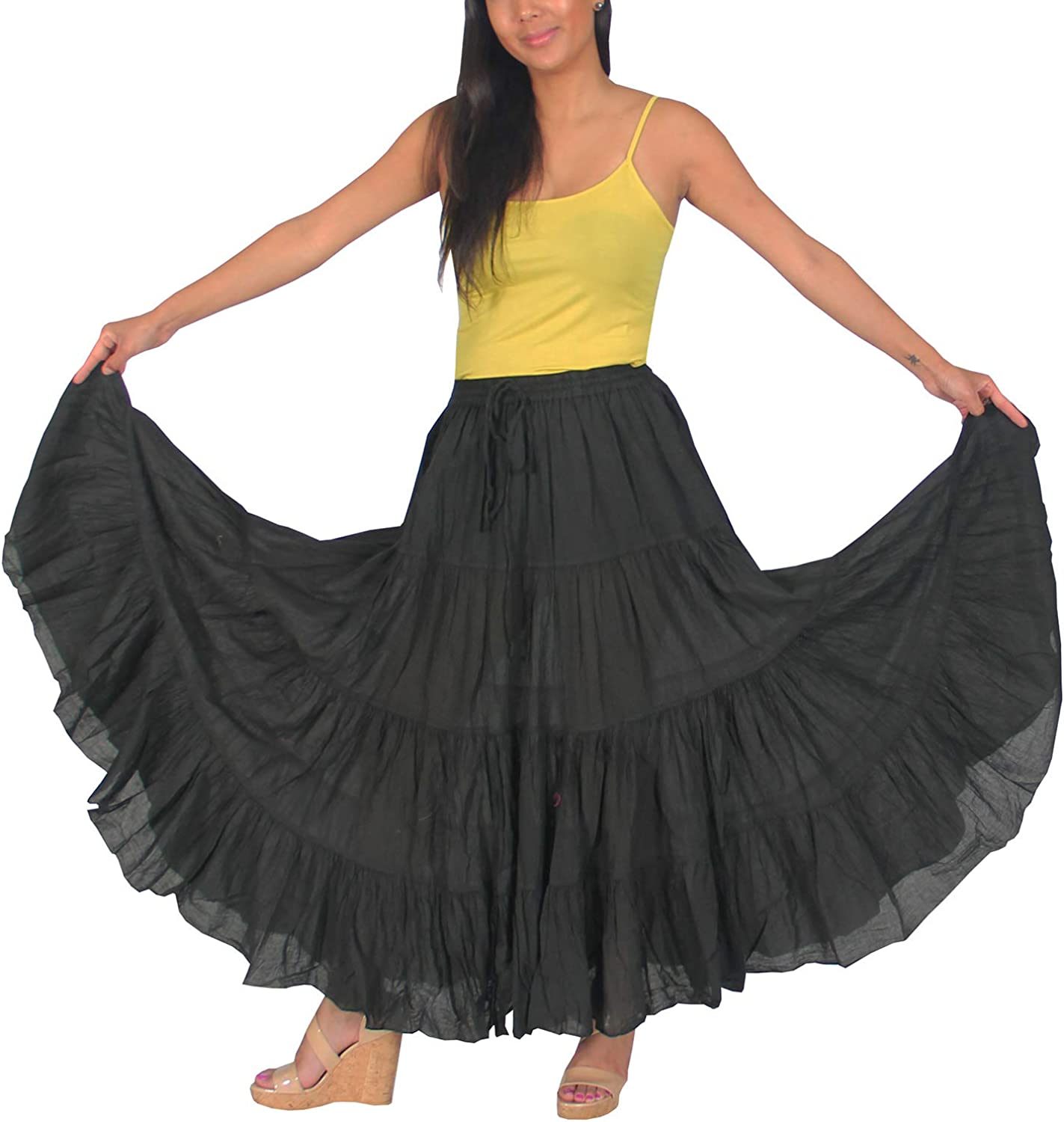 KayJayStyles Women's Tribal Gypsy 12 Yard Solid Color Cotton Dancing Skirt