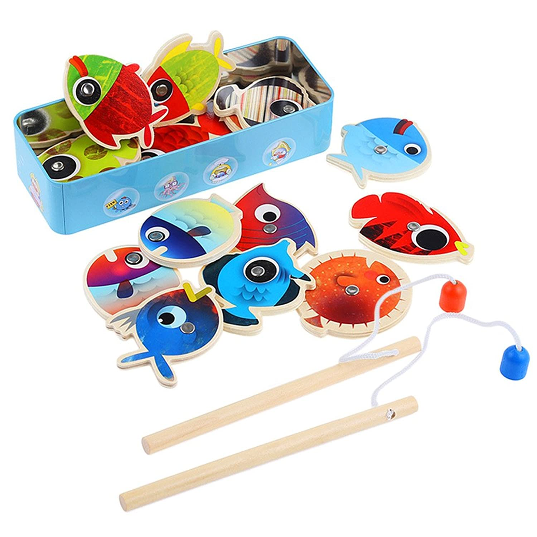 楽しい釣りゲーム|愛らしいカラフルな8個または12個玩具魚と2木製マグネットフック釣りロッドwithボード|教育ゲームのモータースキルとeye-handコーディネーション