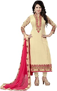 Saumya Designer Women's Cream Georgette Semi Stitched Salwar Suit