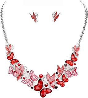 """Rosemarie Collections Women's Beautiful Resin and Enamel Butterflies with Crystals Collar Necklace Earrings Set, 13""""-16"""" w..."""