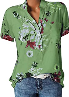 Women Tees Printing Pocket Plus Size Short Sleeve Blouse Easy Top Shirt Sexy V Collar Slim Fit Comfy Tunic