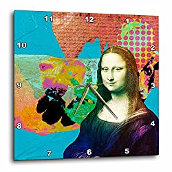 3dRose DPP_172192_3 Mona Lisa and The Colorful Cow Digital Collage Wall Clock, 15 by 15-Inch