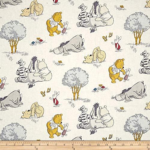 Precortado 1 yarda – Winnie The Pooh Piglet & Eeyore 'A Togetherish Sort of Day' lanzado en tela de algodón negro (ideal para...
