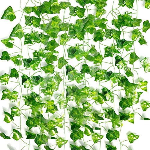 Bilibilidage ASEOK 12 Strands 84 Ft Fake Ivy Leaves Artificial Ivy Garland Greenery Decor Faux Green Hanging Plant Vine for Wall Party Wedding Room Home Kitchen Indoor & Outdoor Decoration